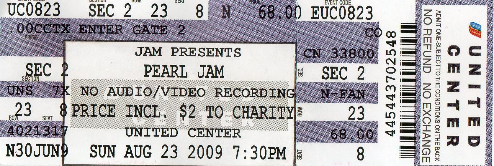 pearl jam united center 2009
